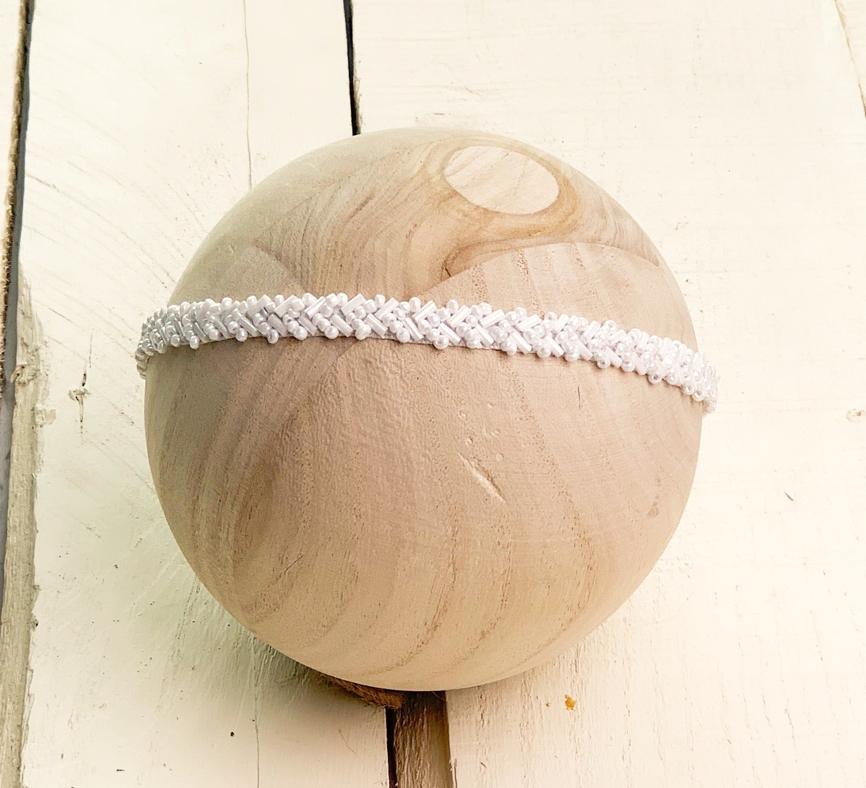 White Beaded Headband