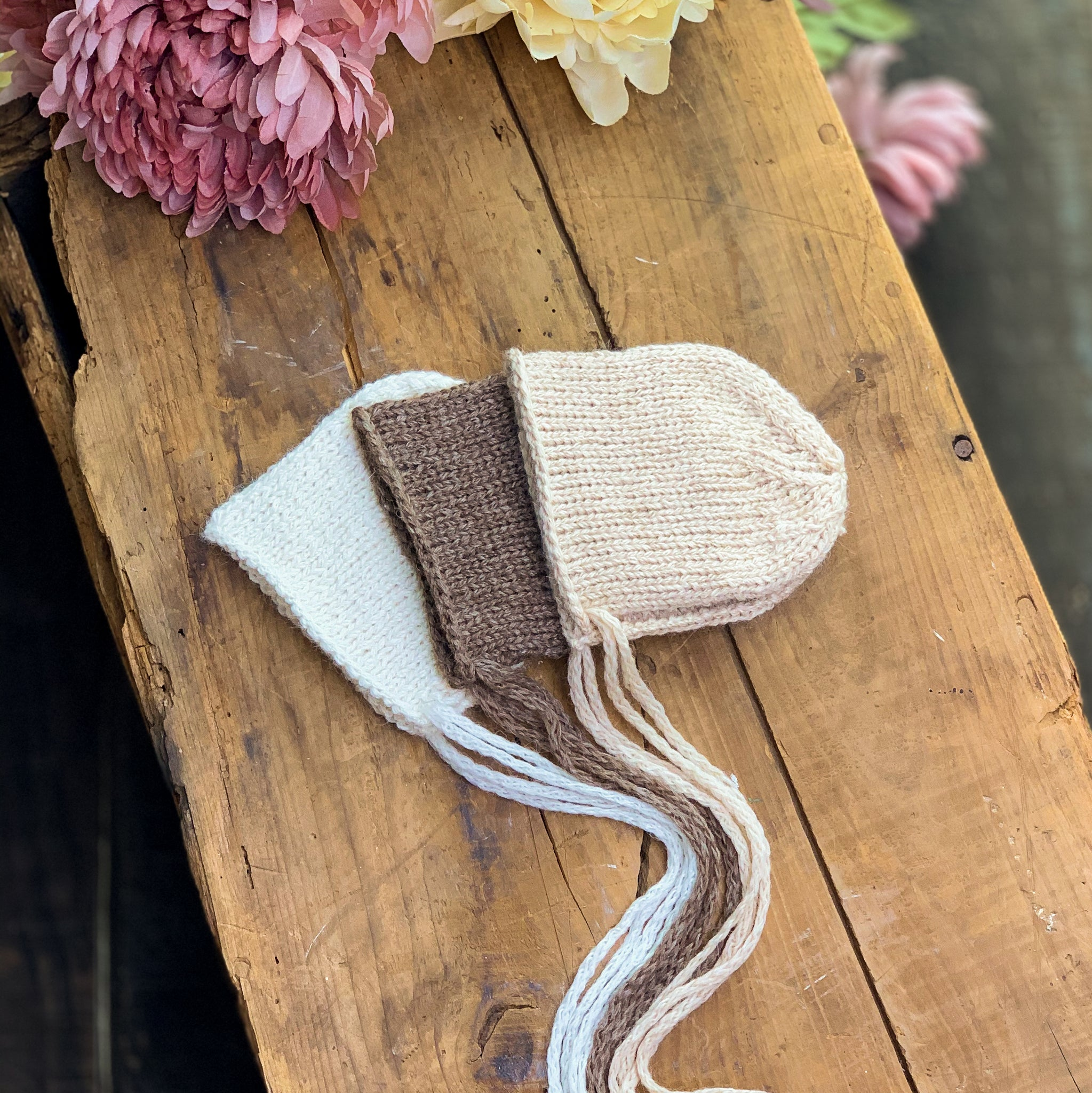 Neutral Newborn Knit Bonnets