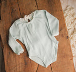 Aqua Ribbed Newborn Romper ~ Sale