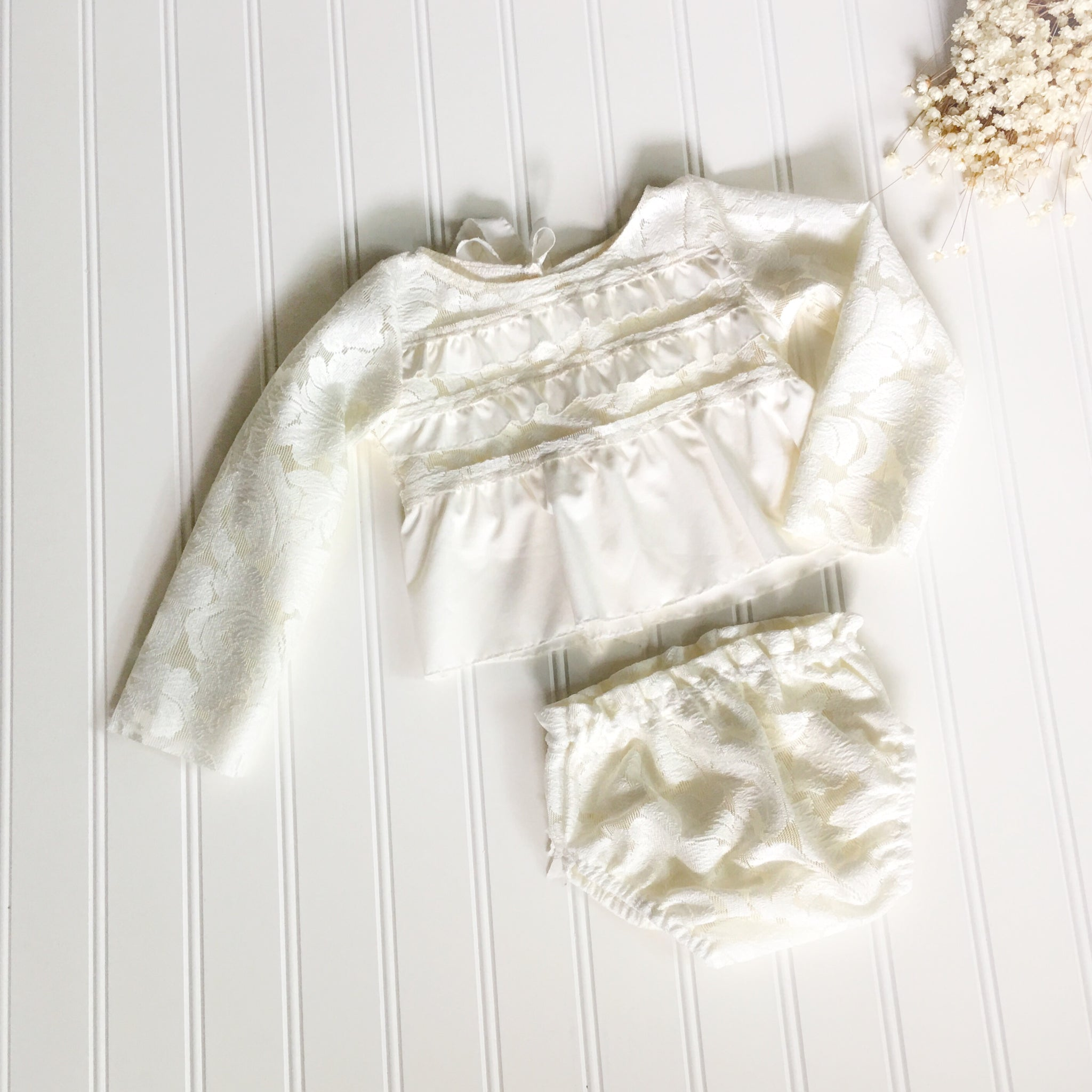 Lace & Chiffon Long Sleeved Sitter Romper Set ~ Ivory