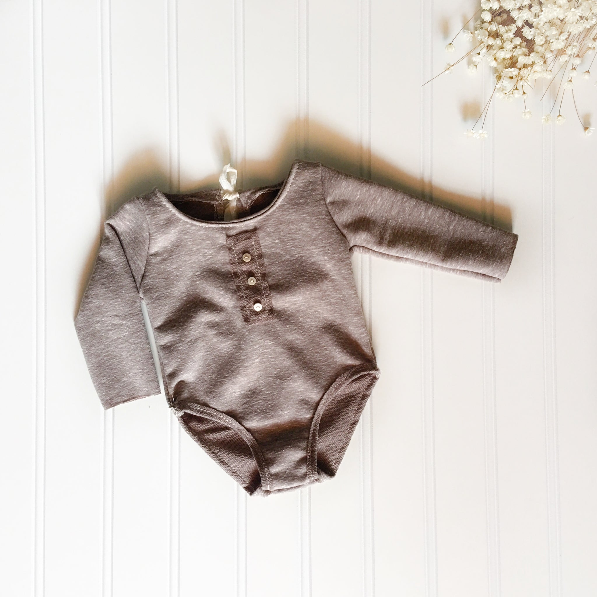 Newborn Tan Button Romper