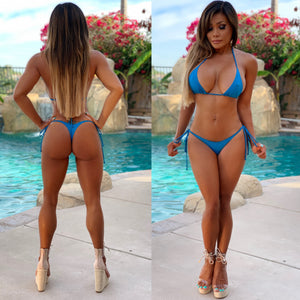 "Connie's ""Innocent 🌴 Island Girl"" Deep Ocean 🌊 Blue, Thong Tie side String Bikini Set..."