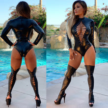 "Connie's ""VIP 🥂 Room Island 😈 Boss Girl"" Stretch Black Coated Wet Look Bodysuit with Zip back closure"