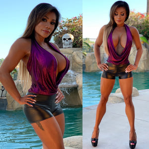 "Connie's ""VIP Club Girl ⚡ Dangerous Deep Plunge Halter Top"" Metallic 🍇  Soft & Stretchy... Made in the USA😘"