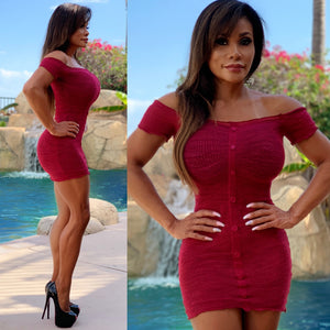 "Connie's ""Sweet and Sexy Maple 🍁 Red Top Shelf Off Shoulder Mesh Mini Dress...Made in the USA😘"
