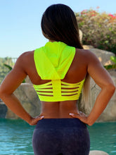 "Connie's ""Lemon 🍋 Lime Strappy Back Hoodie Crop Top"" 💪  Fitness GYM Top"""