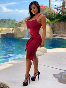 "Connie's ""Sweet and Sexy Maple 🍁 Red Top Shelf Hi Low Midi"" Ribbed Midi Dress...Made in the USA😘"
