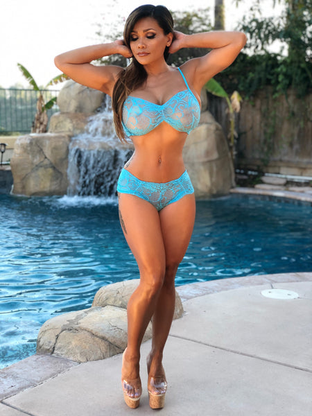 Pre-Order: Connie's VIP Island Girl Blue Raspberry Lace lingerie Set Lace Bra & Boy Shorts