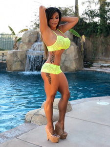 Pre-Order: Connie's VIP Island Girl Lemon Lace lingerie Set Lace Bra & Boy Shorts