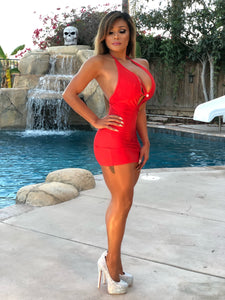 "Pre-Order: Connie's Volcanic Red ""VIP Island Jewel Party Girl"" Micro Mini dress   in size S-XXXL"