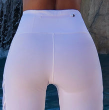 "Connie's Top Shelf ""Ultimate Fit Girl"" Island White Gym Leggings, with Rear Zip Pouch"