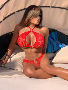 "Connie's ""Spartan Princess Red 🌹 Lingerie Set"" Stretch Fishnet Top and Shorts"