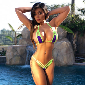 "Connie's ""VIP Kiwi 🥝and 🍇Grapes Island Pool Party Killer"" Micro Mini Thong Bikini Set"