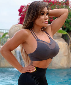 "Connie's ""Strappy Mesh Island Gray Smoke Fitness GYM Top"" With Removable Padding💖"
