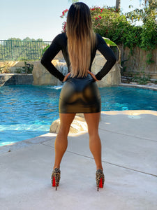"Connie's ""VIP Vegas Club Girl Liquid 🖤Onyx🖤 Mini Skirt"" Stretch Fit...Made in the USA😘"