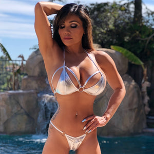 "Connie's ""Shiny Silver 🥂 VIP Vegas Pool Party Ruched Bikini"" Micro Mini Bikini Set"