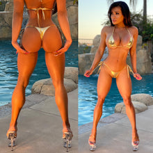 "Connie's ""VIP Vegas Pool Party, Metallic 💰GOLD 💰 Thong Bikini"" Micro 🍸 Mini Bikini Set😘"