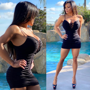 "Connie's ""🌴 Island Girl, Black Heart 🖤💔🖤 Breaker, Ruched Mini"" Soft Stretchy Fully Lined Mini...Made in the USA😘"