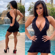 "Connie's ""Innocent 😇, Black 🍒 🖤's CLUB Girl Mini"" 😈😈😈 EXTREME Deep 👀 Chest Plunge...Made in the USA😘"
