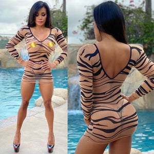 "Connie's,  400K....  ""🌴 Island 🐅 Champagne Room 🍾 Mini"" Extreme Stretch See 👀 Thru MESH Lingerie Mini Dress🔥🔥🔥💯"