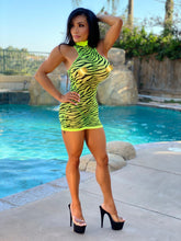"Connie's ""Neon 🍏, 🌴 Island 🐆 Tiger Champagne Room 🍾 Mini"" Extreme Stretch See 👀 Thru MESH Lingerie Mini Dress🔥🔥🔥💯"