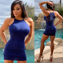 "Connie's ""DEEP BLUE 🌊 Ocean Micro Club Mini...Super Stretch FIT Micro Min with 👀 Thru Mesh Back Accent...😍"
