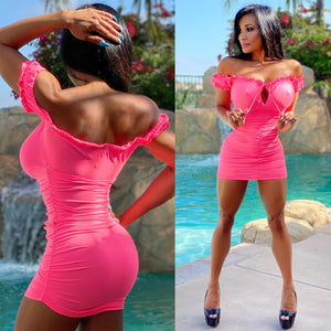 Connie's, Top Shelf, PeeP Chest 👀 Neon Pink 🌺, Island 🌴 Girl Micro Mini Dress...Ruffle Spandex Micro Mini 💥💥💥