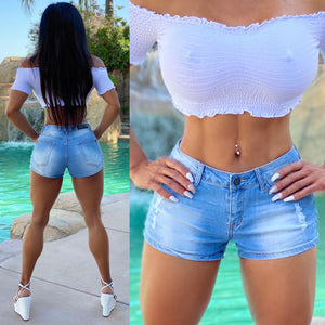 "Connie's ""Island 🌴 Girl, Mid High Waist Jean 🍑 Shorts... 🌞 5 Pocket Destroyed 💙 Faded Blue Wash Super Stretch Mini Shorts...😻"