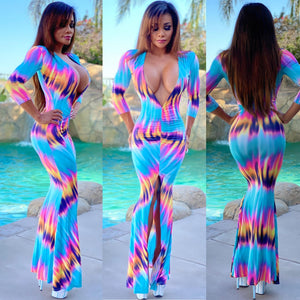 "***LIMITED*** Connie's ""VIP 🍾🥂🍾 Club Girl Tie Dye Maxi 💙💛💗💜"" EXTREME Plunge 👀 With Super Stretch Fit...Made in the USA...💯😘"
