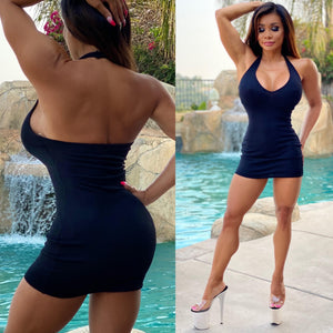 "Connie's ""Black 🖤🖤🖤s Daily Errands HALTER Mini"" Super Stretchy Ribbed Halter Mini Dress..."