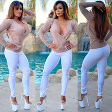 "Connie's ""Manhattan Beach 🌊, VIP 🌴 Club Girl 😇"" Cinnamon Sugar 🐈y, Cashmere Feel, EXTREME Plunge Sweater Top👀"