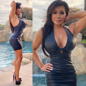 "Connie's ""VIP Island Girl in Vegas, Black 💣 Rubber Coated Mini Dress...Made in the USA😘"