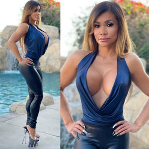 "Connie's ""VIP Club Girl ⚡ Dangerous Deep Plunge Halter Top"" Metallic Sapphire 💎Blue 💅 Soft & Stretchy Made in the USA😘"
