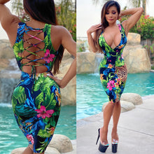 "Connie's ""Sophisticated 🍸💋 VIP Island 🌴 Girl"" PeeP 👀 Chest Tropical 🌴 Midi...With Open Back & Super Stretch Fit...Made in the USA...💯😘"