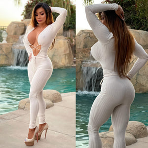 "Connie's ""🔥AF, South Coast Plaza Bad Girl...😈...Jumpsuit ... Semi Sheer 👀 White, Rayon Spandex 🥂😈😈😈 ...MADE in the USA😘"
