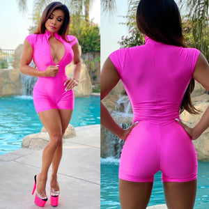 "Connie's ""Island 🌴 Club Girl"" Zip Front, PeeP 👀 Chest, NEON Hot PINK 🔥😈🔥 Romper🥂..."