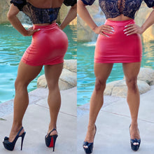"Connie's ""VIP Vegas Club Girl Liquid 😈 RED 😈 Mini Skirt"" Rubberized Stretch Fit...Made in the USA😘"