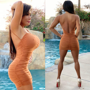 "Connie's ""🔥 Backless 🌴 Island Brown Sugar Mini"" Top Shelf Fully Lined Micro Mini....Made in the USA😘"