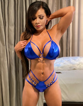 "Connie's ""VIP Vegas Pool Party, Strappy Thong Bikini""  Shiny Blue 💙 Metallic 🥂  Micro Mini Bikini Set😘"