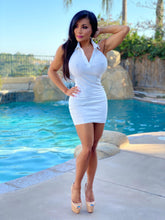 "Connie's ""White Forest 🔥, Button Chest 👀 Mid Mini"" Daily Errands Ribbed Halter Mini Dress💋💋💋"
