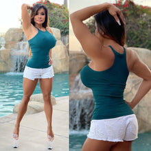 "Connie's ""Sweet DARK 🌴 Green, Ribbed Racer Back Tank Top"" Super Stretch Fit...Made in The USA😍"