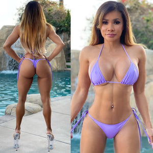 "Connie's ""Innocent 🌴 Island Girl"" Tropical LiLac 🌺 , Thong Tie side String Bikini Set..."