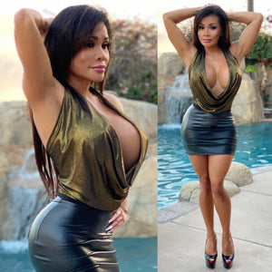 "Connie's ""VIP Club Girl ⚡ Dangerous Deep Plunge Halter Top"" Gunmetal Gold 💛 Soft & Stretchy Made in the USA😘"
