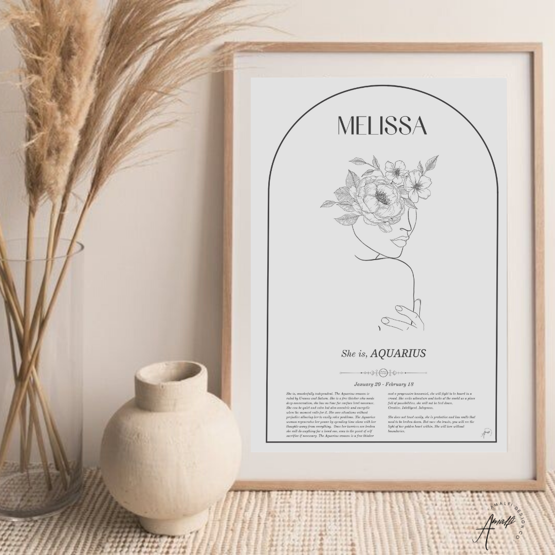 Buy AQUARIUS- ZODIAC FEMME PERSONALISED WALL PRINT- DIGITALfrom Amalfi Boutique