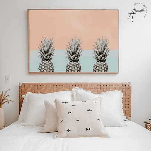 PINEAPPLE SKY PRINT x 3 (HORIZONTAL BLUE)- INSTANT DOWNLOAD