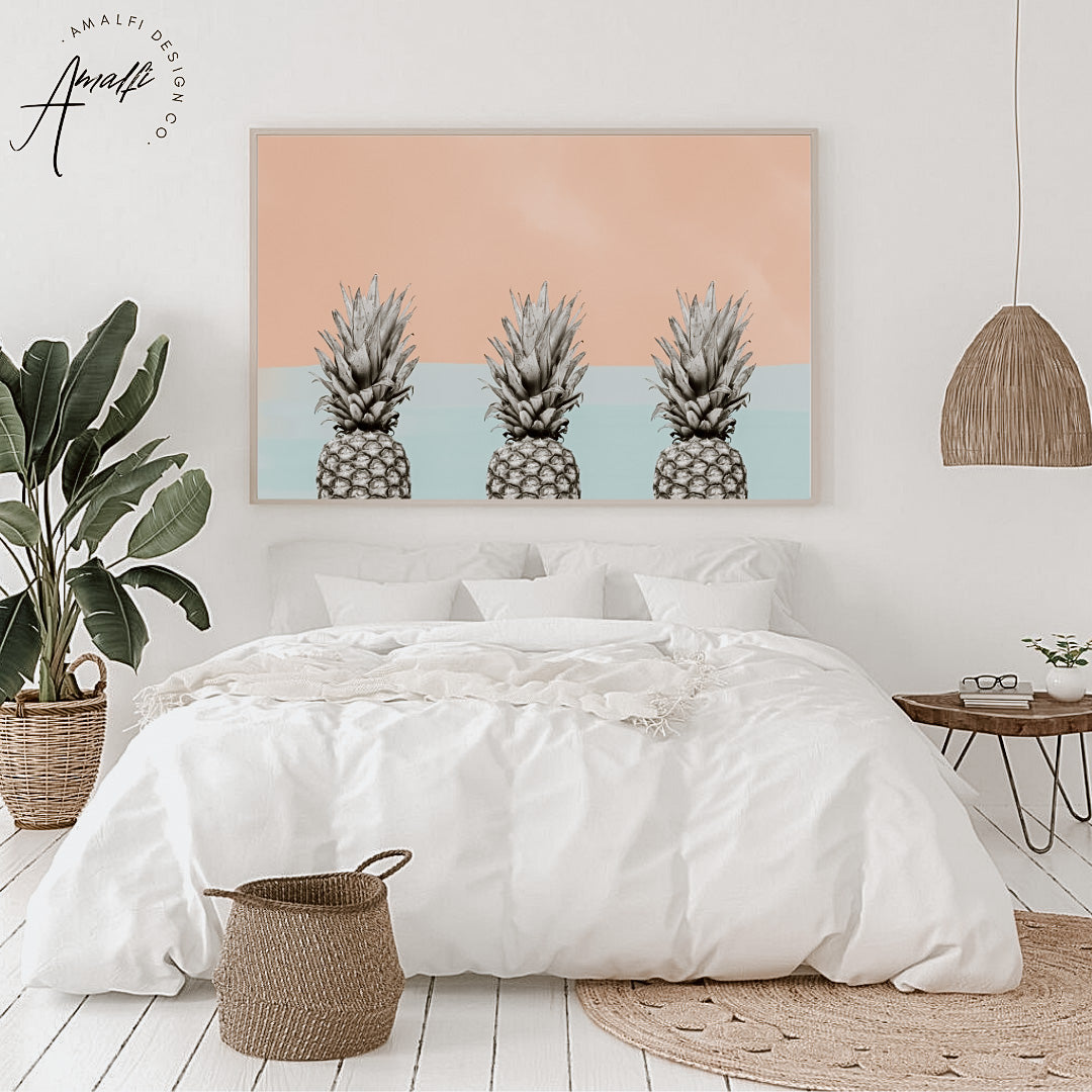 Buy PINEAPPLE SKY PRINT x 3 (HORIZONTAL BLUE)- INSTANT DOWNLOADfrom Amalfi Boutique