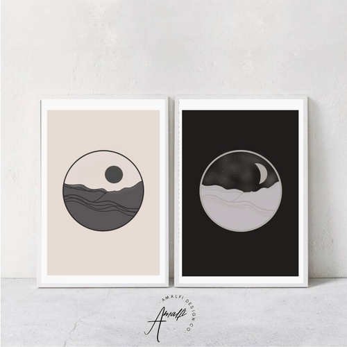 DAY AND NIGHT PRINT SET- INSTANT DOWNLOAD
