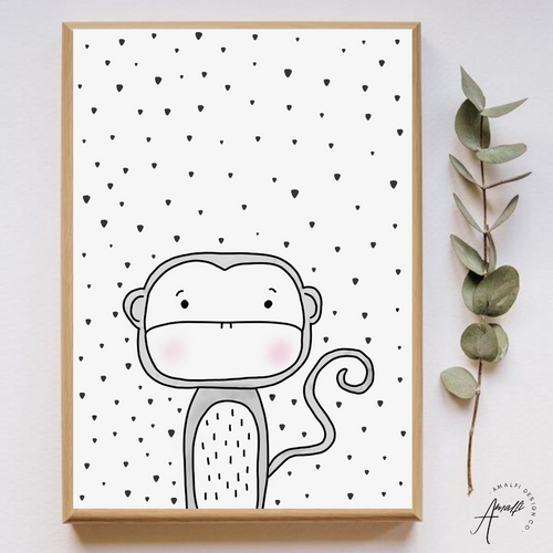 WOODLANDS MONKEY PRINT- INSTANT DOWNLOAD