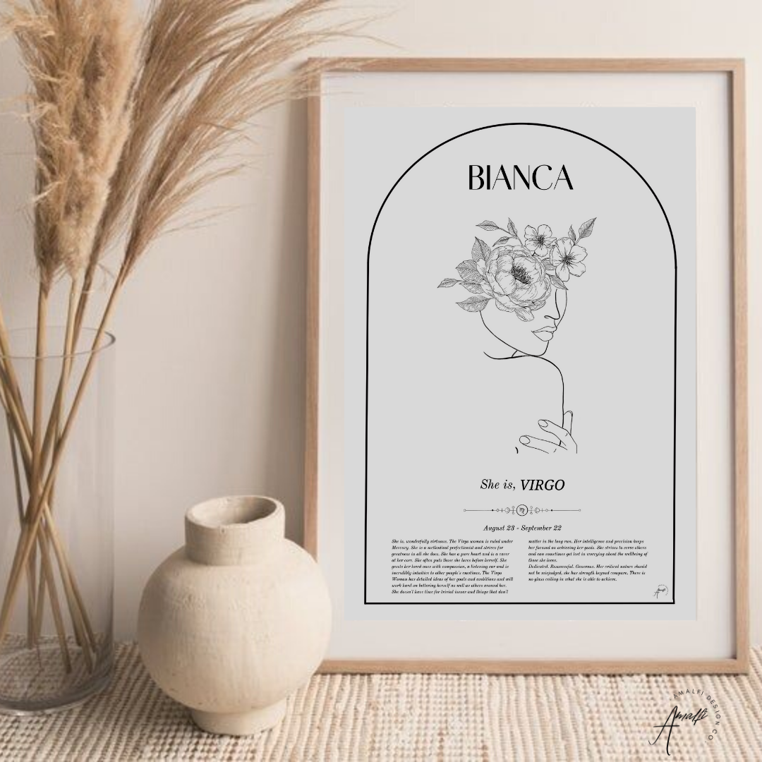 Buy VIRGO - ZODIAC FEMME PERSONALISED WALL PRINT- DIGITALfrom Amalfi Boutique