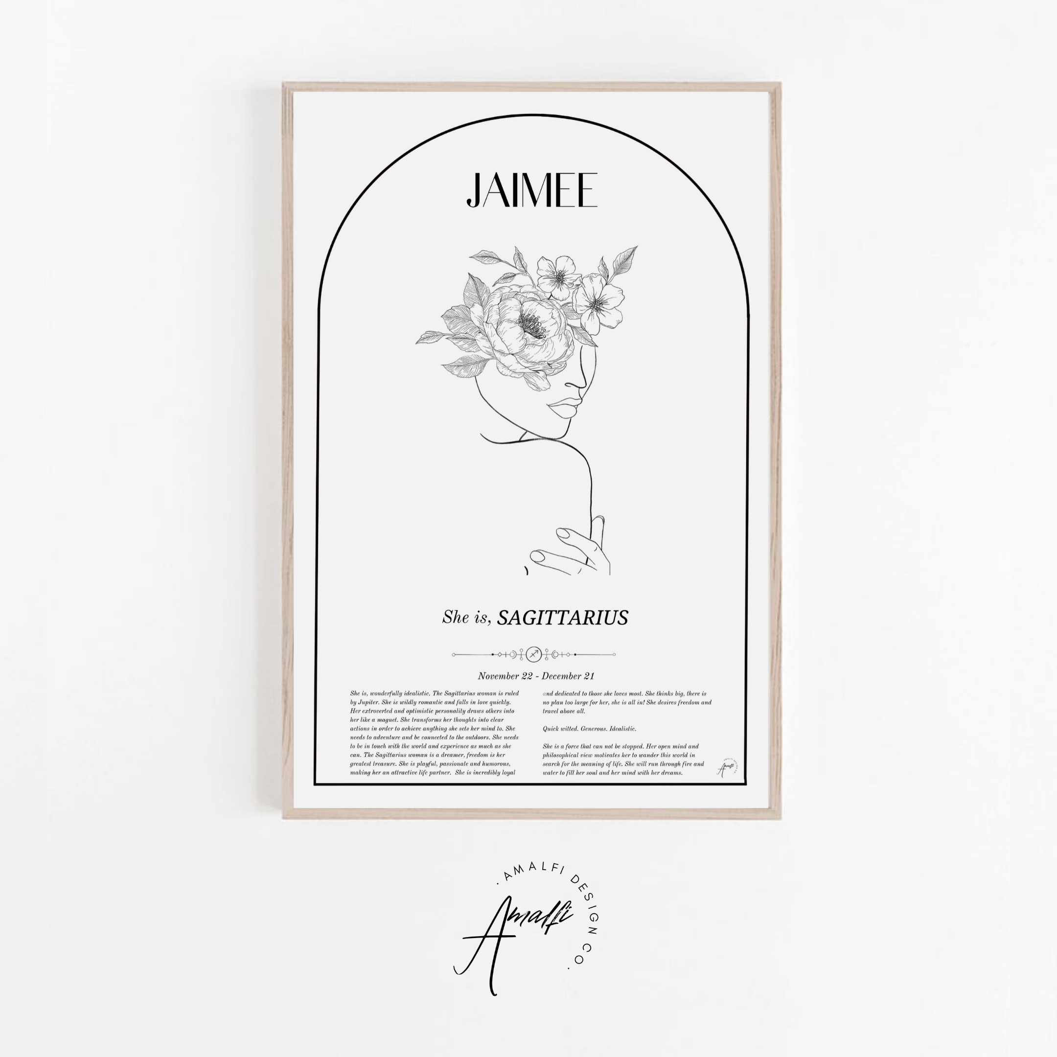 Buy SAGITTARIUS - ZODIAC FEMME PERSONALISED WALL PRINT- DIGITALfrom Amalfi Boutique